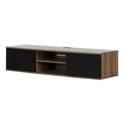 Agora Natural Walnut and Matte Black 56 in. Wide Wall Mounted Media Console