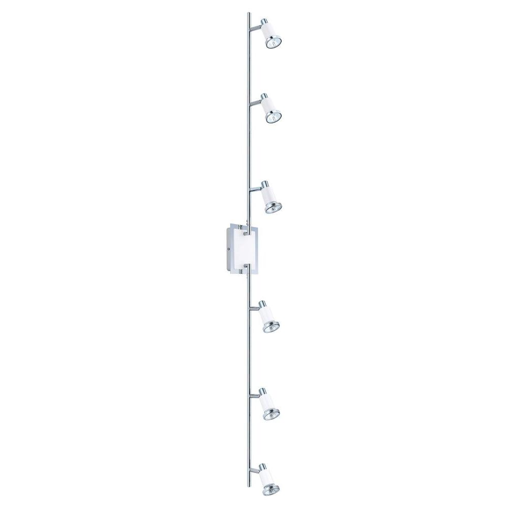 Eglo Eridan 6 Light Surface Mount Chrome And Glossy White Track Lighting Fixture With Adjule
