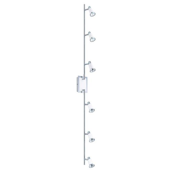 Eridan 6-Light Surface Mount Chrome and Glossy White Track Lighting Fixture with Adjustable Arms