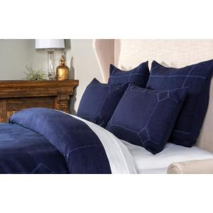 Heirloom Linen Indigo Embroidery King Duvet Cover by