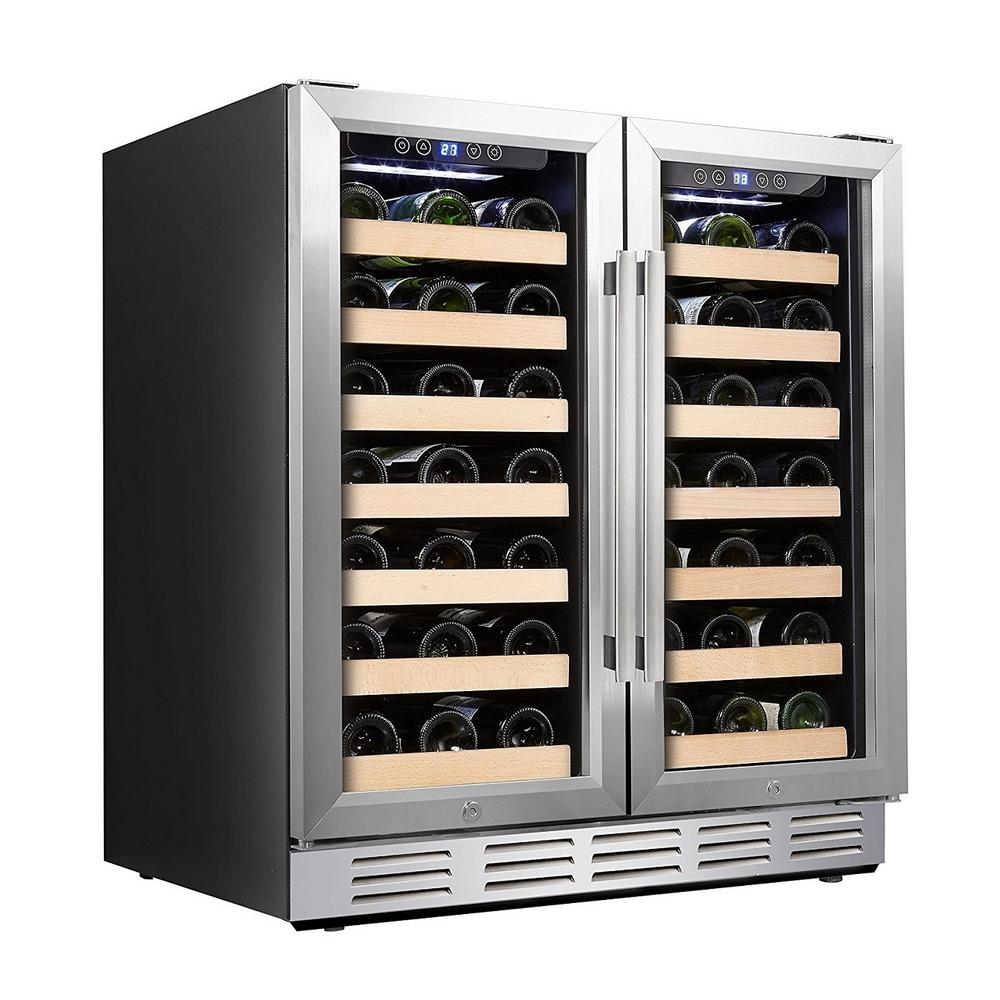 Kalamera 30 in. Wine Cooler 66 Bottle Dual Zone Built-in and Freestanding with Stainless Steel and Glass French-Door Style