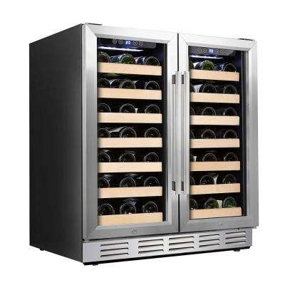 30 in. Wine Cooler 66 Bottle Dual Zone Built-in and Freestanding with Stainless Steel and Glass French-Door Style
