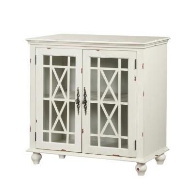 Harper's Branch Aged White Accent Cabinet with Framed Doors