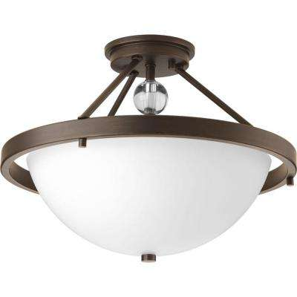 Compass Collection 2-Light Antique Bronze Semi-Flush Mount Light