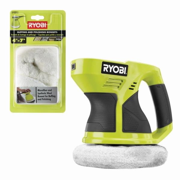 ONE+ 18V Cordless 6 in. Buffer (Tool Only) w/ Extra 4-7 in. Microfiber and Synthetic Fleece Buffing Bonnet Set (2-Piece)
