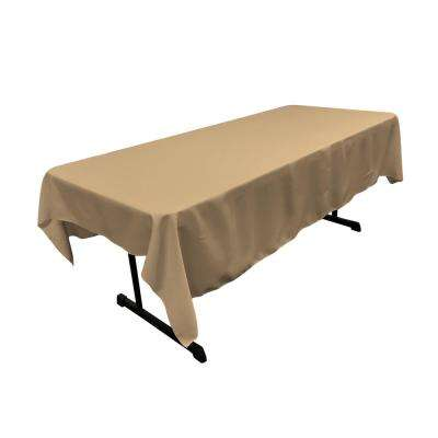 60 in. x 84 in. Taupe Polyester Poplin Rectangular Tablecloth