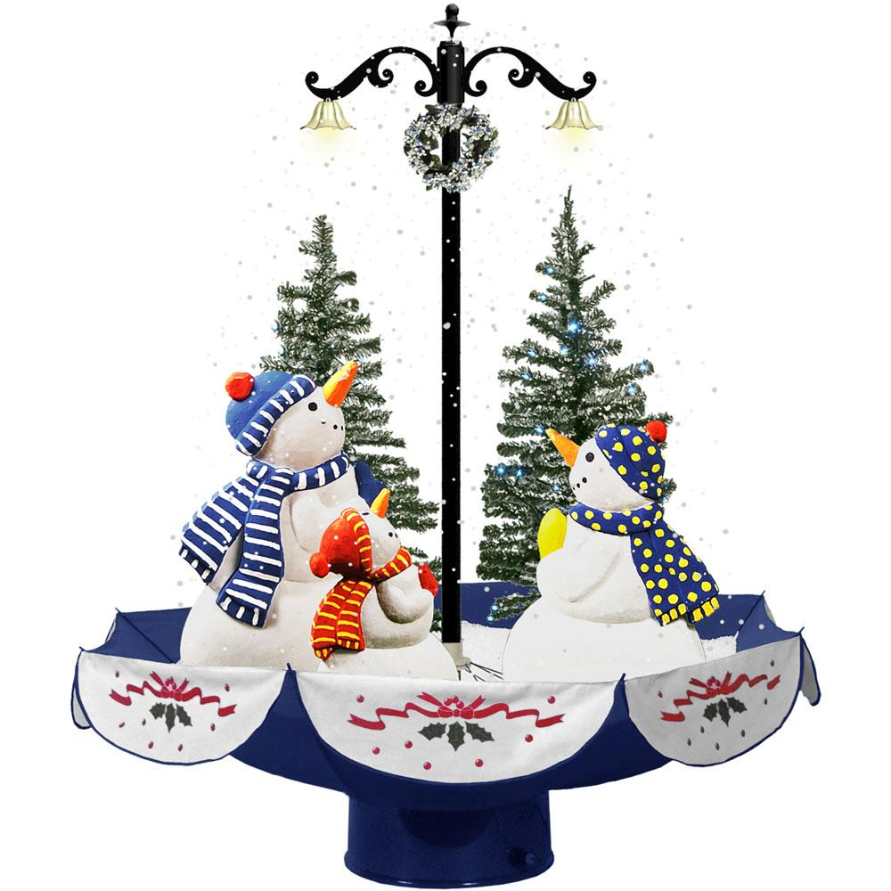 29 in. Musical Snowman Family Scene with Blue Umbrella Base and