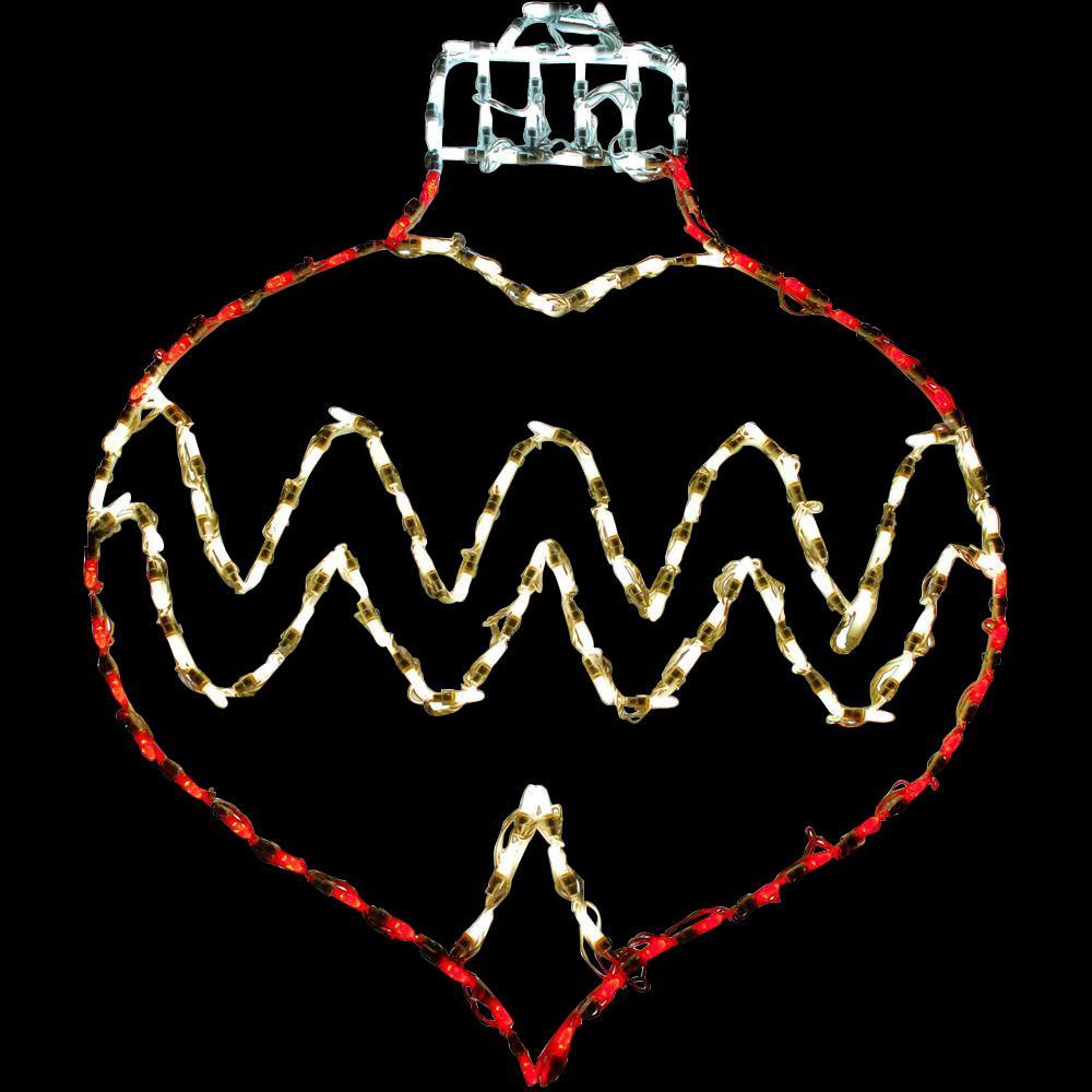 3 ft. 137-Light LED Red/Warm White Oval Drop Ornament Novelty Light