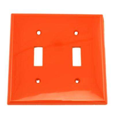 2-Gang 2-Toggle Standard Size Heavy Duty Nylon Wall Plate, Red