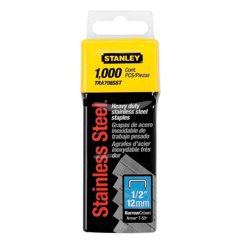 Stanley 1/2 in. Heavy Duty Stainless Steel Narrow Crown Staple