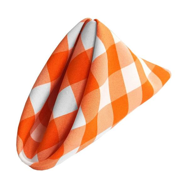 18 in. x 18 in. White and Orange Gingham Checkered Napkins (10-Pack)