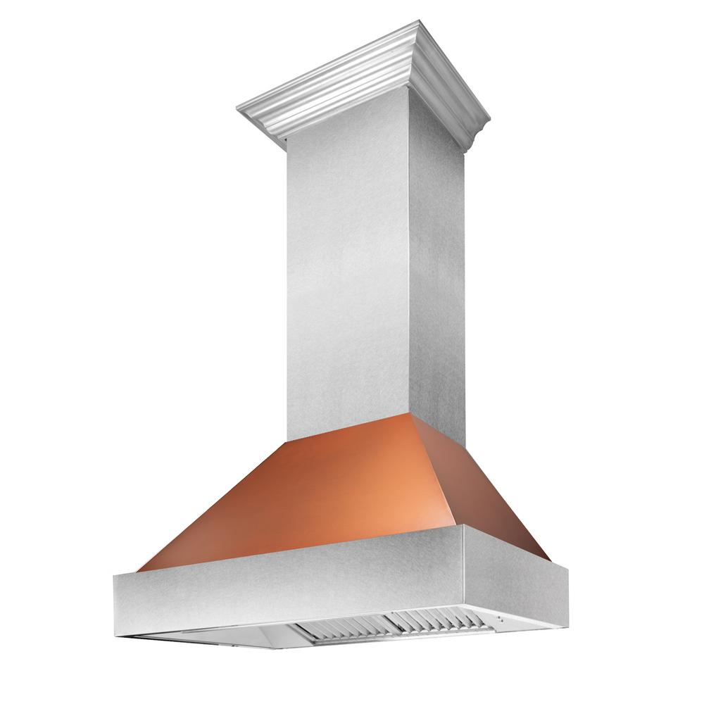 ZLINE Kitchen and Bath 36 in  Snow Finished Stainless Steel Range Hood in  Copper Shell