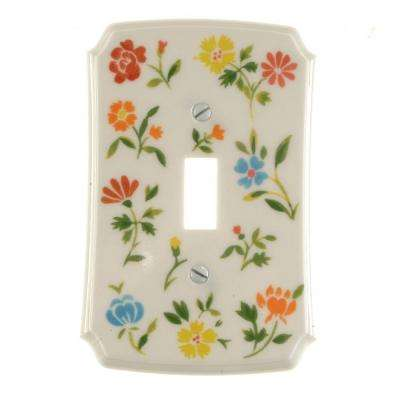 flower toss 1 gang toggle switch wall plate green