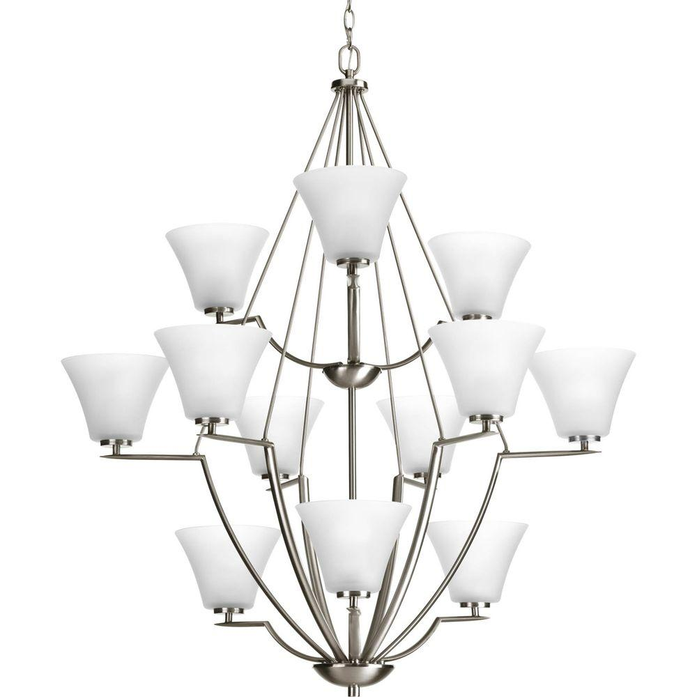 Bravo Collection 12-Light Brushed Nickel Chandelier with Shade with Etched Glass