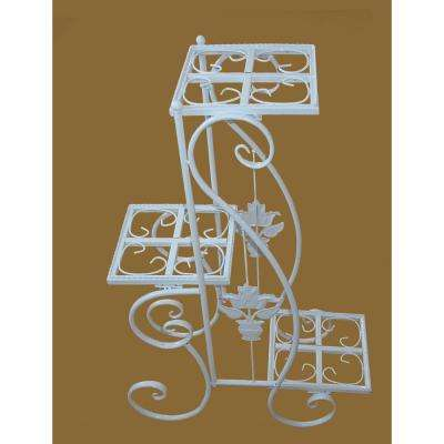 24 in. x 36.5 in. Metal White Plant Stand
