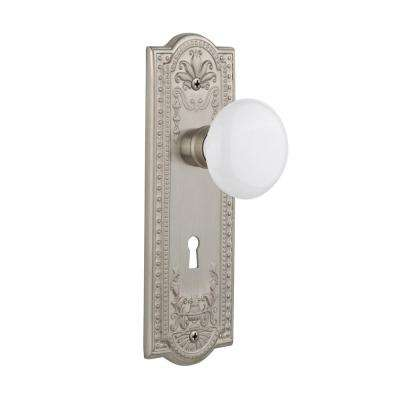 Meadows Plate with Keyhole Single Dummy White Porcelain Door Knob in Satin Nickel