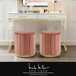 Awesome Nicole Miller Mohit Blush Gold Velvet Round Ottoman With Caraccident5 Cool Chair Designs And Ideas Caraccident5Info