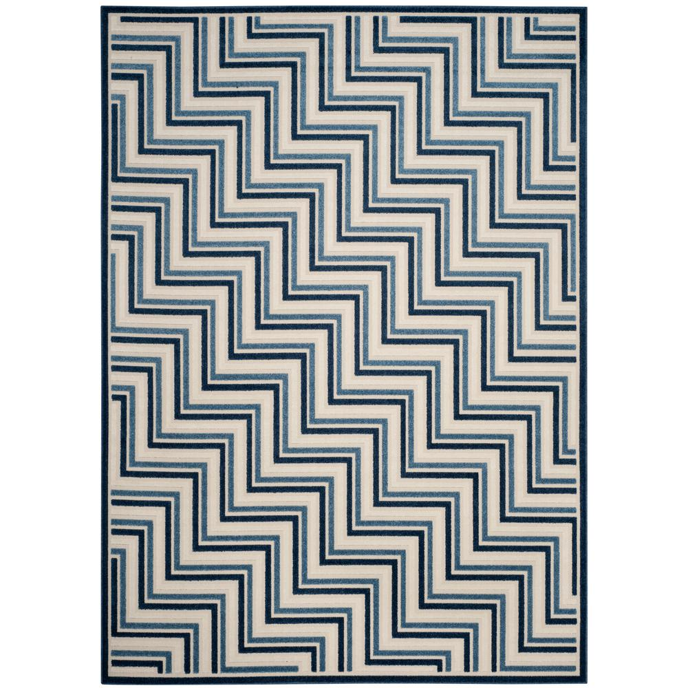 Cottage Cream/Blue 9 ft. x 12 ft. Indoor/Outdoor Area Rug