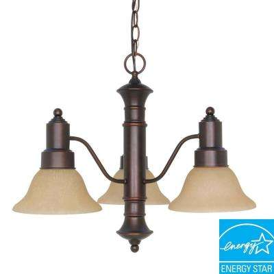 3-Light Mahogany Bronze Hanging Chandelier