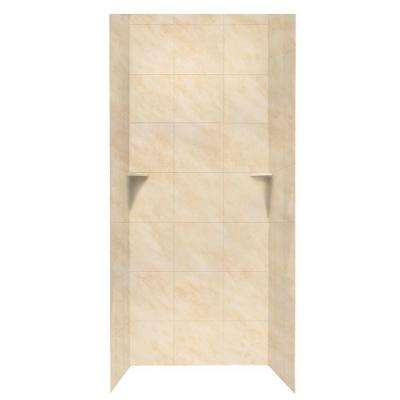 Square Tile 36 in. x 36 in. x 96 in. 3-Piece Easy Up Adhesive Alcove Shower Surround in Golden Steppe