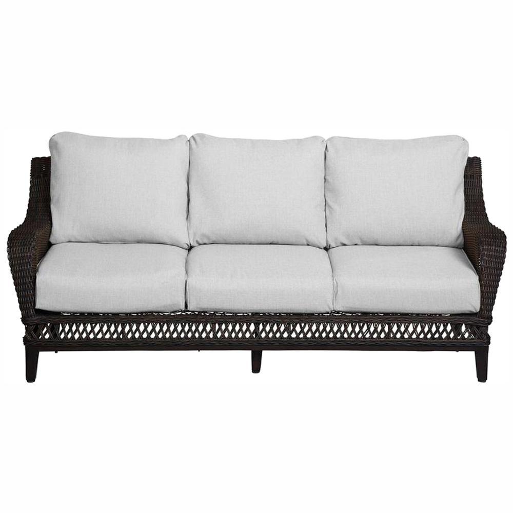 Awesome Hampton Bay Woodbury Wicker Outdoor Patio Sofa With Textured Sand Cushion Download Free Architecture Designs Xoliawazosbritishbridgeorg