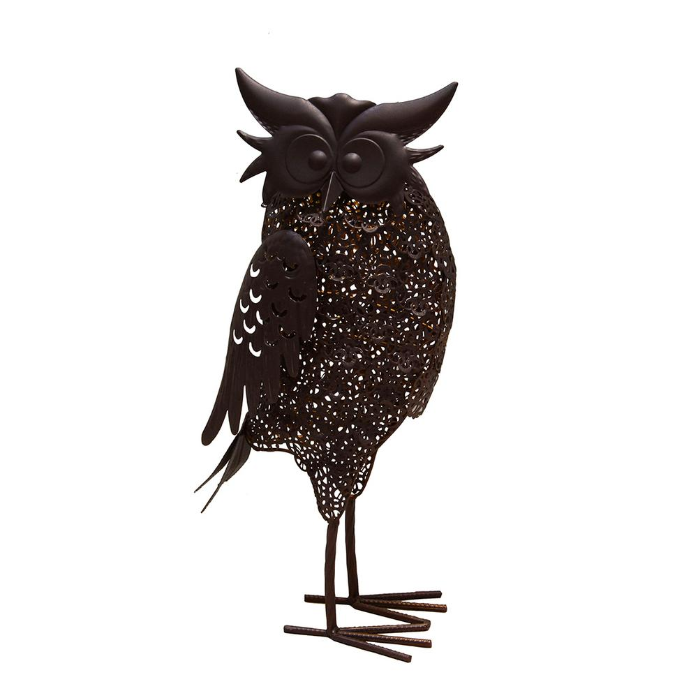 Delightful Steel Indoor/Outdoor Animal Garden Owl Metal Bird Sculpture Statue With  Solar