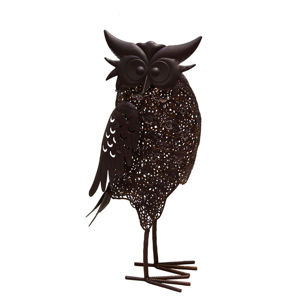 16.7 in. Steel Indoor/Outdoor Animal Garden Owl Metal Bird Sculpture Statue with Solar Light