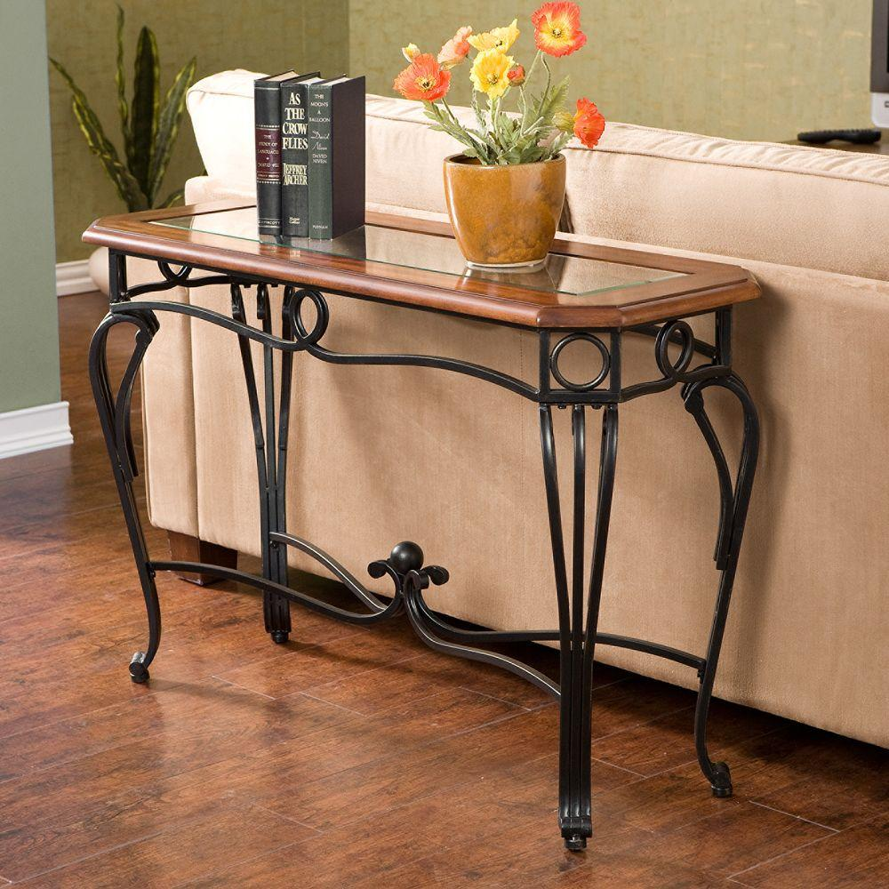 Southern Enterprises Thomas Black Metal And Dark Cherry Console Table