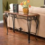 Thomas Black Metal and Dark Cherry Console Table