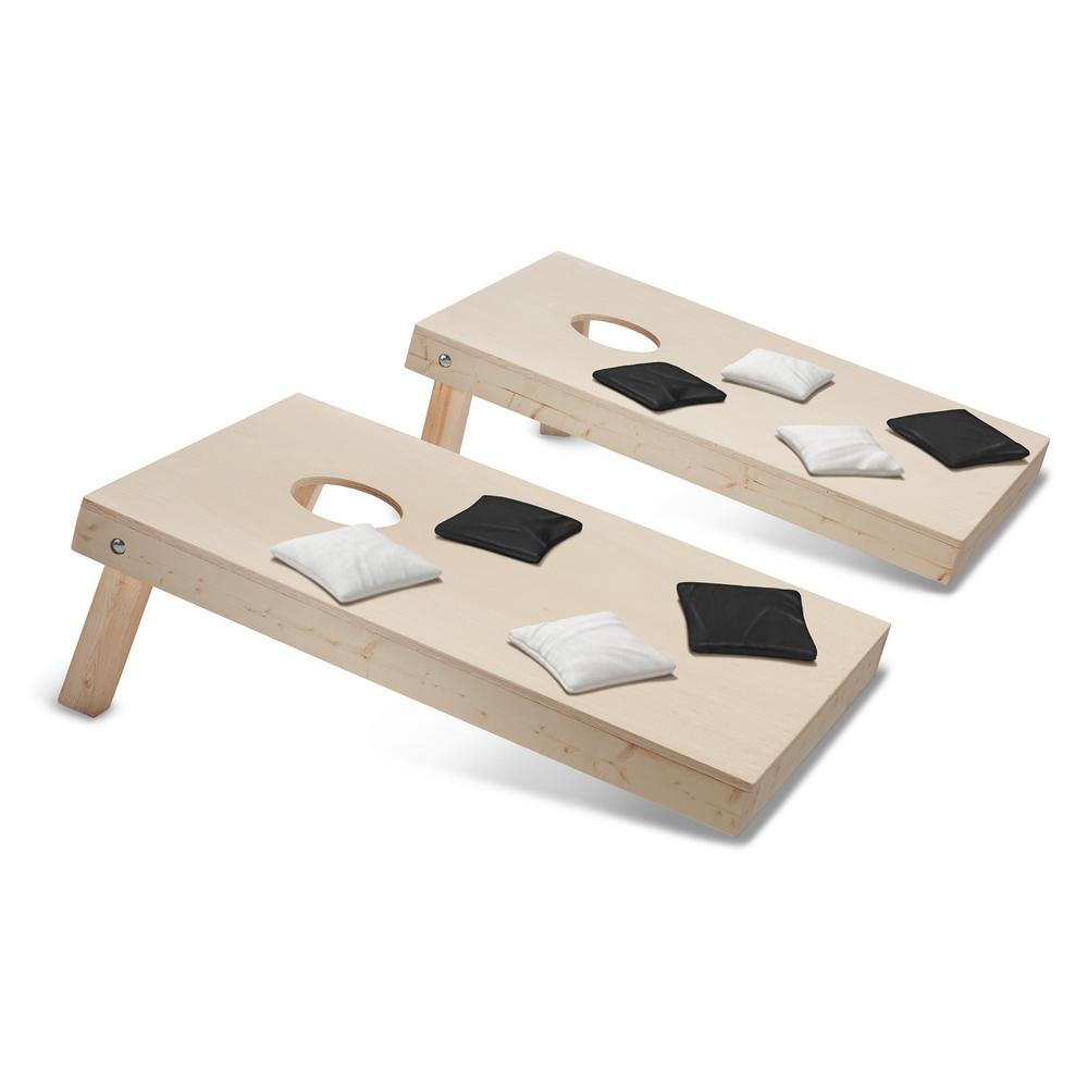 Take-And-Play Cornhole Toss Game Set with Black and White Bags