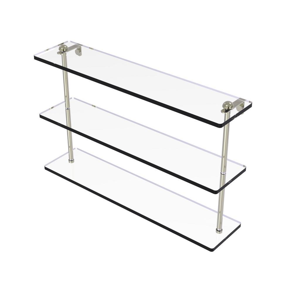 22 in. Triple Tiered Glass Shelf in Polished Nickel