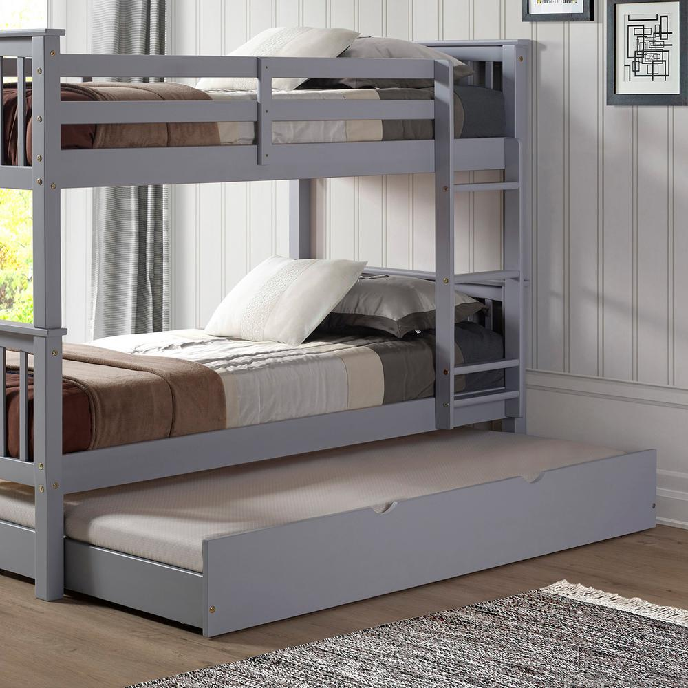 Walker Edison Furniture Company Grey Solid Wood Twin Trundle Bed. Walker Edison Furniture Company Grey Solid Wood Twin Trundle Bed