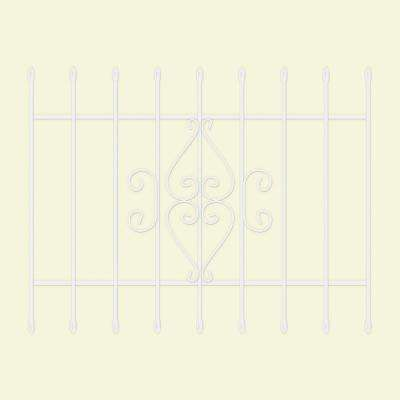 48 in. x 36 in. Su Casa White 9-Bar Window Guard
