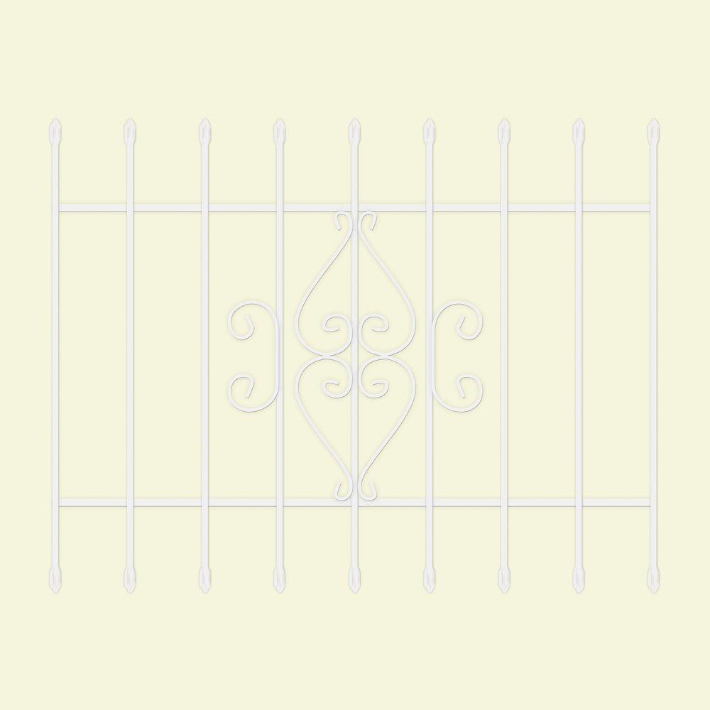 48 in. x 36 in. Su Casa White 9-Bar Window Guard