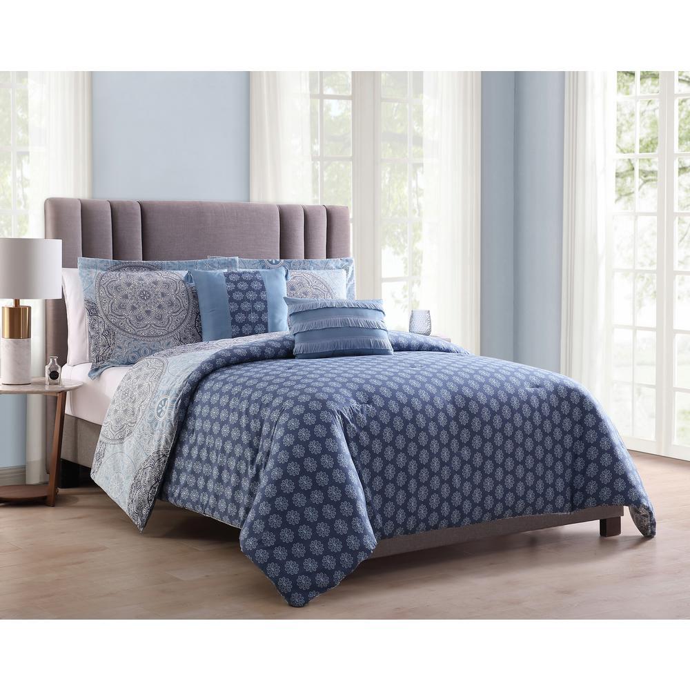 Samuel 5-Piece Blue Full/Queen Comforter Set