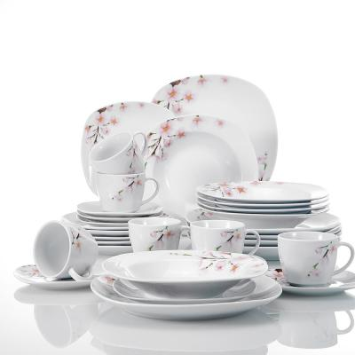 Annie 30-Piece Printed White Porcelain Plates Dishes Dinnerware Set (Service for 6)