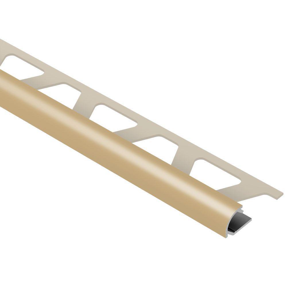 Rondec Light Beige Color-Coated Aluminum 3/8 in. x 8 ft. 2-1/2 in. Metal Bullnose Tile Edging Trim