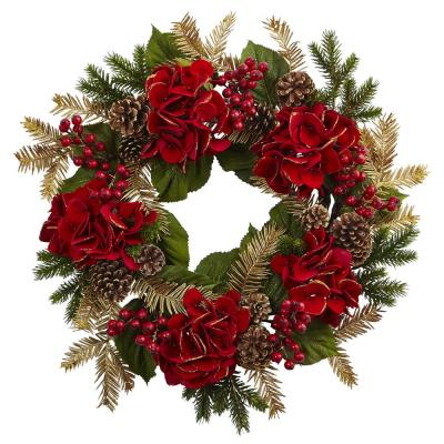 24 in. Hydrangea Pine Wreath