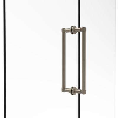 Contemporary 12 in. Back-to-Back Shower Door Pull in Antique Pewter