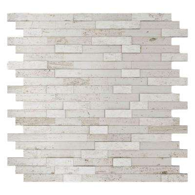 Himalayan 11.77 in. x 11.57 in. x 8 mm Stone Adhesive Wall Tile Backsplash in White (11.4 sq. ft. / case)