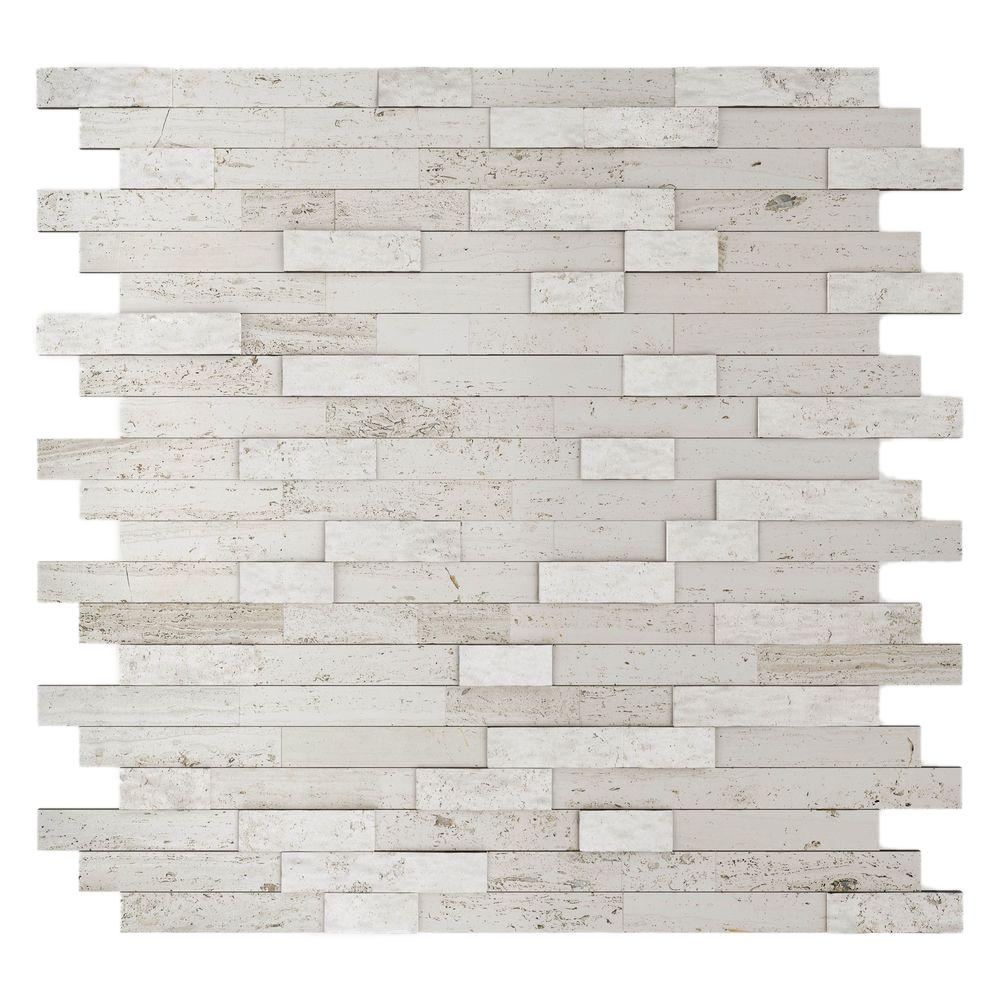 Inoxia Sdtiles Himalayan White 11 77 In X 57 8 Mm Stone Self Adhesive Wall Mosaic Tile 4 Sq Ft Case Usis314 2 Boite The Home Depot