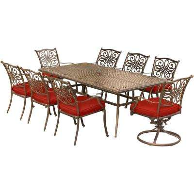 Traditions 9-Piece Aluminum Outdoor Dining Set with 2 Swivel Rockers with Red Cushions
