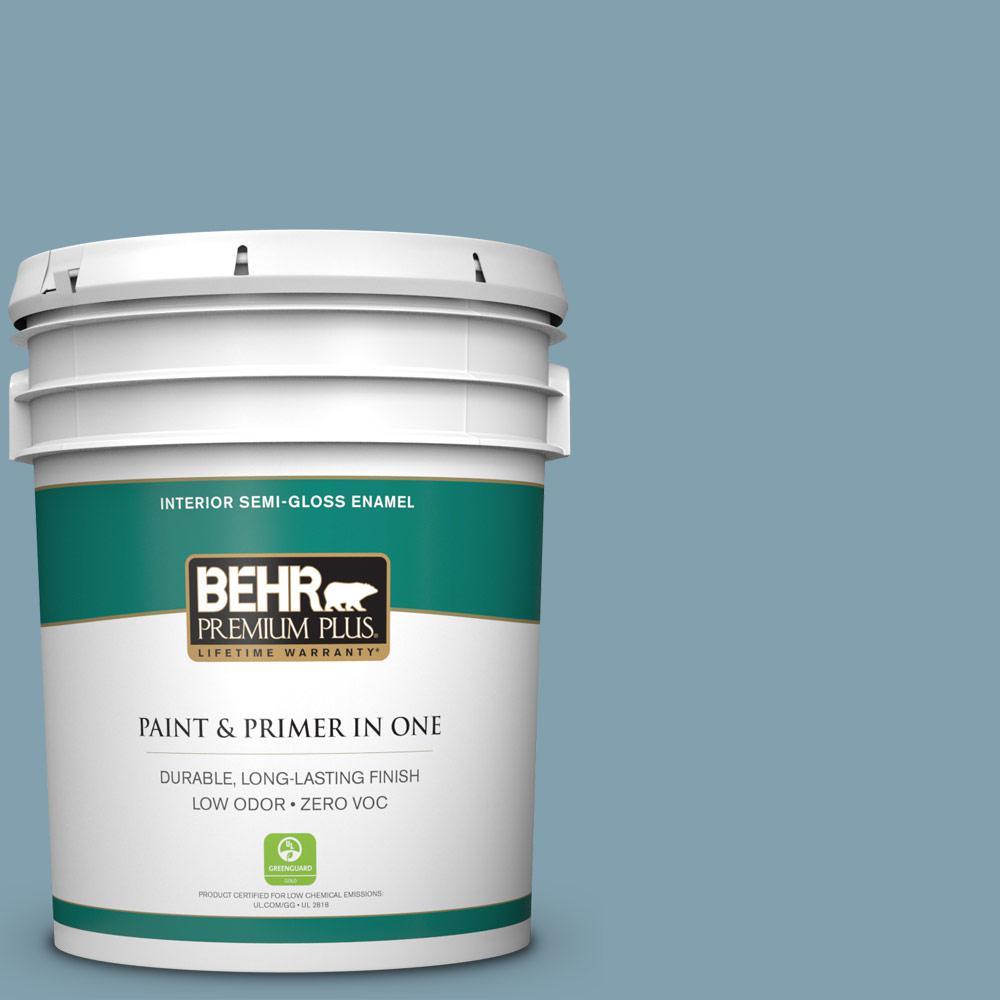 BEHR Premium Plus 5-gal. #T14-14 Cloisonne Blue Semi-Gloss Enamel Interior Paint