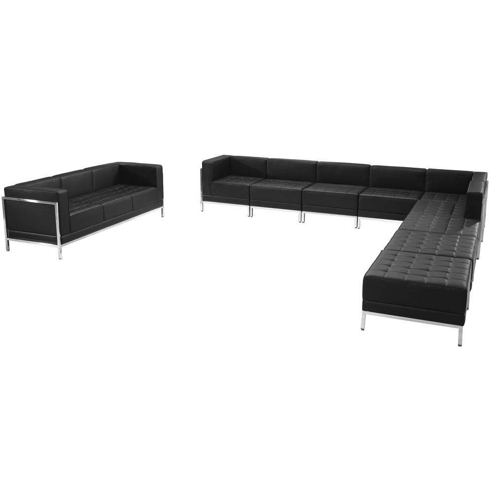 Black Leather Sectional Sofa Set