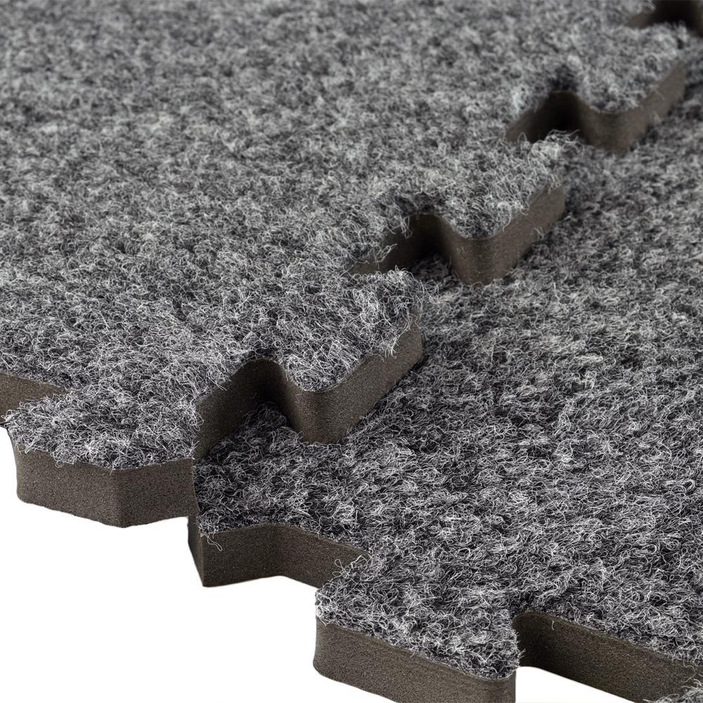 Greatmats Royal Carpet Dark Gray Velour Plush 2 Ft X 2 Ft X 5 8 In Interlocking Carpet Tile 96 875 Sq Ft 25 Tiles Case Royict Dgy25 The Home Depot