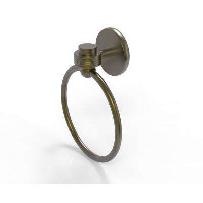 Satellite Orbit One Collection Towel Ring with Groovy Accent in Antique Brass