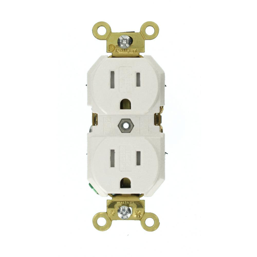 15 Amp Industrial Grade Tamper Resistant Self Grounding Duplex Outlet, White