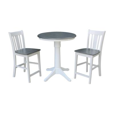 Olivia 3-Piece 30 in. White/Heather Gray Round Solid Wood Counter Height Dining Set with San Remo Stools