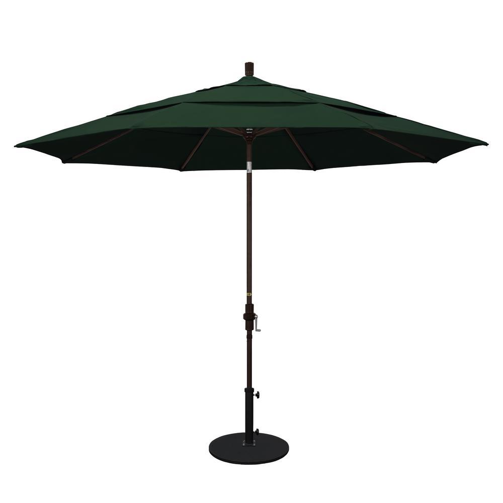 Aluminum Collar Tilt Double Vented Patio Umbrella In Hunter