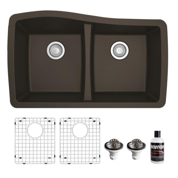QU-720 Quartz/Granite Composite 32 in. Double Bowl 60/40 Undermount Kitchen Sink with Grids & Basket Strainers in Brown